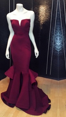 Marsala Burgundy Mermaid Prom Dresses Ruffles Notched Front Slit Formal Evening Gowns_1