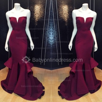 Marsala Burgundy Mermaid Prom Dresses Ruffles Notched Front Slit Formal Evening Gowns_3