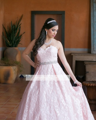 Strapless A-line Beadings Appliques Glorious Quinceanera Dresses_2
