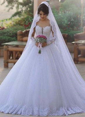 Elegant Beading Ball Gown Wedding Dresses   Long Sleeves Lace Bridal Gowns_1