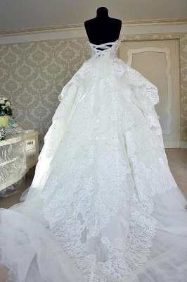 Sexy Bridal Strapless Wedding Dresses   Lace up Appliques Wedding Ball Gown_5