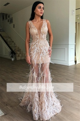 Modest V-Neck Sleeveless Prom Dresses   Mermaid Feather Long 2021 Evening Gowns BC1701_2