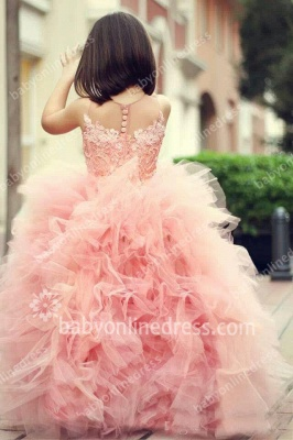 Chic Mother And Daughter Dresses Girl's Pageant Dresses Pink Ruffles Sleeveless Flower Girl's Dresses_3