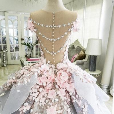 Vintage Floral Ball Gown Wedding Dresses | Scoop Short Sleeves Flowers Bows Long Bridal Dresses_3