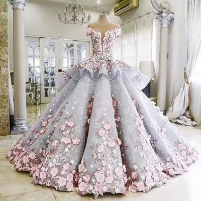 Vintage Floral Ball Gown Wedding Dresses | Scoop Short Sleeves Flowers Bows Long Bridal Dresses_4
