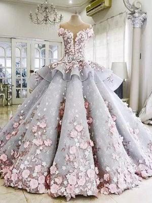 Vintage Floral Ball Gown Wedding Dresses | Scoop Short Sleeves Flowers Bows Long Bridal Dresses_1
