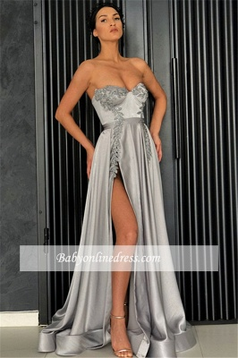 Gorgeous Sleeveless Sweetheart Evening Dresses | A-Line Appliques Front Split Prom Gowns_2