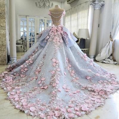 Vintage Floral Ball Gown Wedding Dresses | Scoop Short Sleeves Flowers Bows Long Bridal Dresses_2