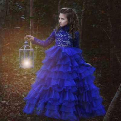 Flower Girls ten layers Party Dresses | Royal Blue Kids Formal Ball Gown_3