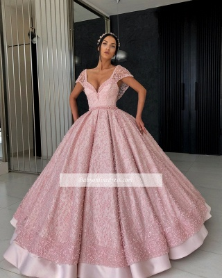 Gorgeous Cap Sleeves V-Neck Evening Dresses   Appliques Ball Gowns Prom Gowns_1