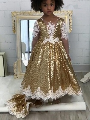 Shiny Gold Ball Gown Flower Girl Dresses | Cute Long Lace Kid's Pageant Dresses_1