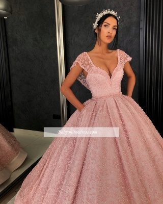 Gorgeous Cap Sleeves V-Neck Evening Dresses   Appliques Ball Gowns Prom Gowns_2