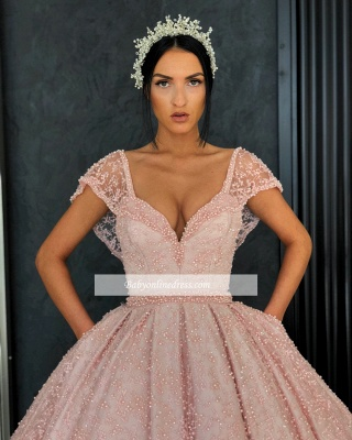 Gorgeous Cap Sleeves V-Neck Evening Dresses   Appliques Ball Gowns Prom Gowns_3