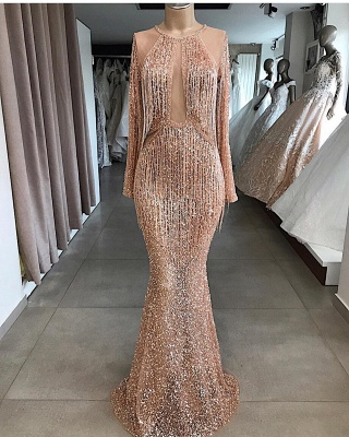 Luxury Tassel Mermaid Evening Gowns   Long Sleeves Sequin Formal Dresses BC1914_2