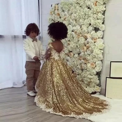 Shiny Gold Ball Gown Flower Girl Dresses | Cute Long Lace Kid's Pageant Dresses_2