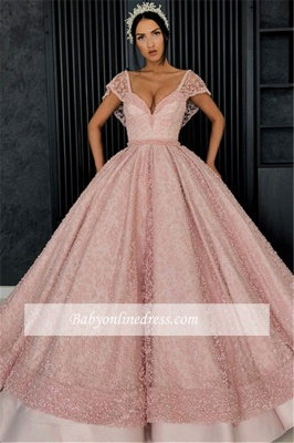 Gorgeous Cap Sleeves V-Neck Evening Dresses   Appliques Ball Gowns Prom Gowns_4