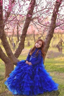 Flower Girls ten layers Party Dresses | Royal Blue Kids Formal Ball Gown_1