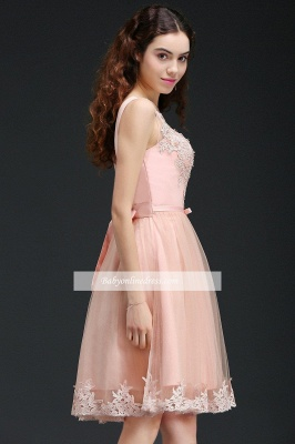 Lace Bowknot Sleeveless Short Elegant Tulle Homecoming Dress_3
