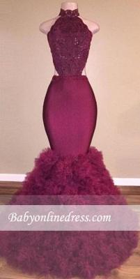Glamorous Backless Mermaid Burgundy Lace Prom Dress_1