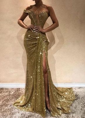 Sexy Gold Sequins Slit Prom Dresses | Glittering Ruched Mermaid Evening Gowns_1