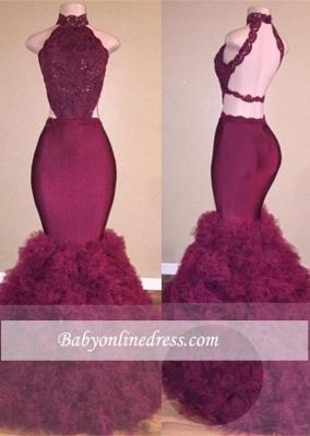 Glamorous Backless Mermaid Burgundy Lace Prom Dress_4