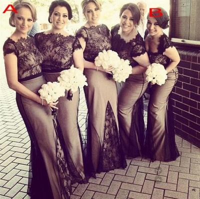 2021 Mermaid Bridesmaid Dresses Sheer Black Lace Overlay Short Sleeves Sexy Maid of Honor Dresses_1