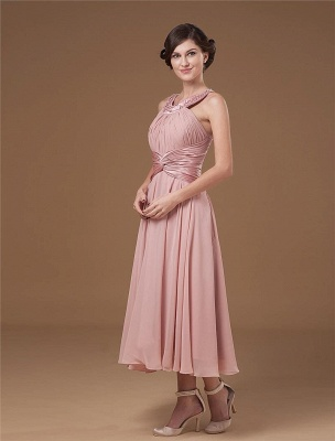 Chiffon Ruffle Halter Beading Tea Length Mothers of Bride & Guests Dresses_3