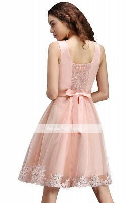 Lace Bowknot Sleeveless Short Elegant Tulle Homecoming Dress_4