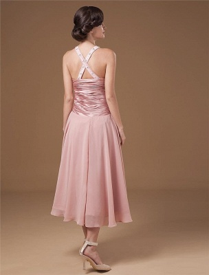 Chiffon Ruffle Halter Beading Tea Length Mothers of Bride & Guests Dresses_6