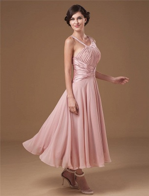 Chiffon Ruffle Halter Beading Tea Length Mothers of Bride & Guests Dresses_5