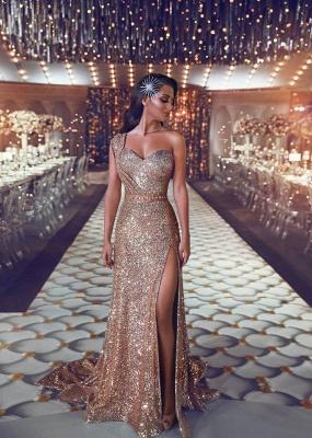 Shiny Gold Sequins Prom Dresses | One-Shoulder Beading Slit Evening Gowns_2