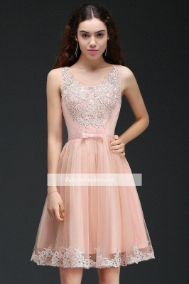 Lace Bowknot Sleeveless Short Elegant Tulle Homecoming Dress_2