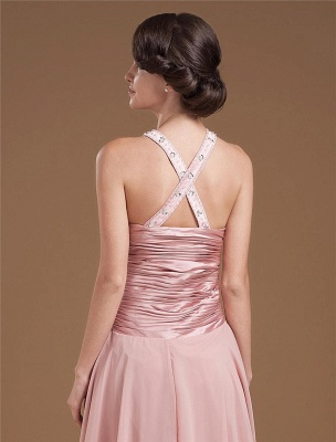 Chiffon Ruffle Halter Beading Tea Length Mothers of Bride & Guests Dresses_7