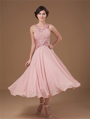 Chiffon Ruffle Halter Beading Tea Length Mothers of Bride & Guests Dresses_1