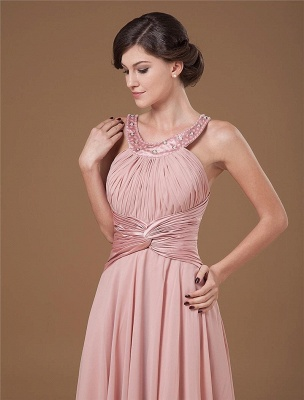 Chiffon Ruffle Halter Beading Tea Length Mothers of Bride & Guests Dresses_4