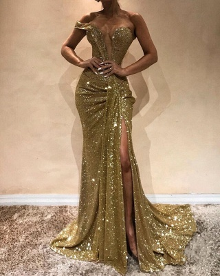 Sexy Gold Sequins Slit Prom Dresses | Glittering Ruched Mermaid Evening Gowns_2
