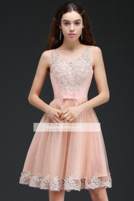 Lace Bowknot Sleeveless Short Elegant Tulle Homecoming Dress_6