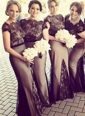 2021 Mermaid Bridesmaid Dresses Sheer Black Lace Overlay Short Sleeves Sexy Maid of Honor Dresses_4