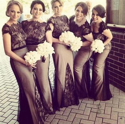 2021 Mermaid Bridesmaid Dresses Sheer Black Lace Overlay Short Sleeves Sexy Maid of Honor Dresses_3