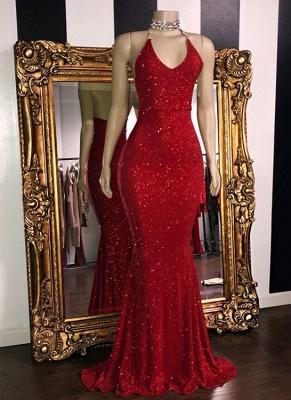 Shiny Red Sequin Mermaid Prom Dresses | Halter Neck Open Back Formal Dresses_1