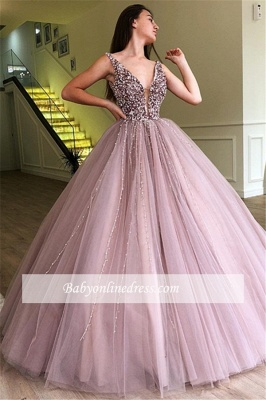 Charming Sleeveless V-Neck Prom Gowns | Long Beading Ball Gown Evening Dresses_2