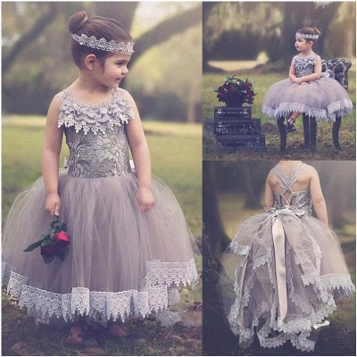 Chic Ball Gown Tulle Flower Girl Dresses | Lace Bows Kids Pageant Dresses_2