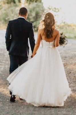 Elegant A-Line Tulle Wedding Dresses   Sweetheart Lace Appliques Bridal Dresses With Bows Floor Length_5