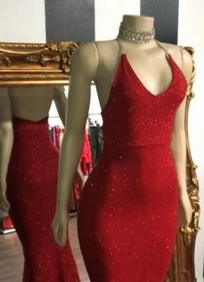 Shiny Red Sequin Mermaid Prom Dresses | Halter Neck Open Back Formal Dresses_2