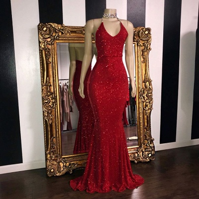 Shiny Red Sequin Mermaid Prom Dresses | Halter Neck Open Back Formal Dresses_4