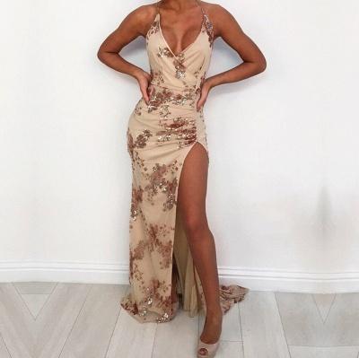 Halter Sexy V-Neck Sequins Prom Dress With Slit_3