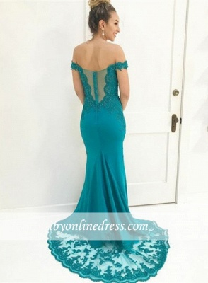 Gorgeous Lace-Appliques Off-The-Shoulder Prom Gowns | Mermaid Floor Length Evening Dresses_2