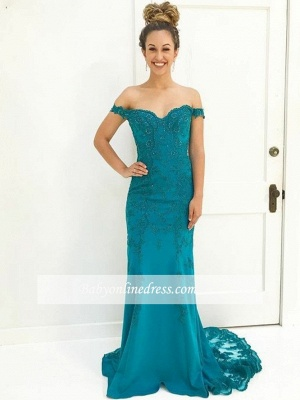 Gorgeous Lace-Appliques Off-The-Shoulder Prom Gowns | Mermaid Floor Length Evening Dresses_3
