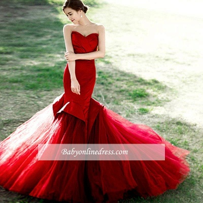 Sexy Red Mermaid Sweetheart Prom Dress 2021 Lace-Up Evening Dress_1