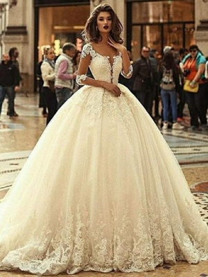 Luxury Lace Ball Gown Wedding Dresses   Scoop Long Sleeves Puffy Bridal Gowns_1